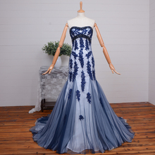 2015 New Arrival Elegant Mermaid Evening gown lace appliques beading sweetheart off the shoulder