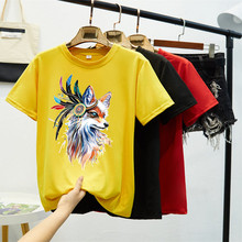 Printing Creative Color Fox Women Oversize Tee Shirt Femme 8 Colors Short Sleeve Summer Shirt Women Colorful Funny T-shirt Women