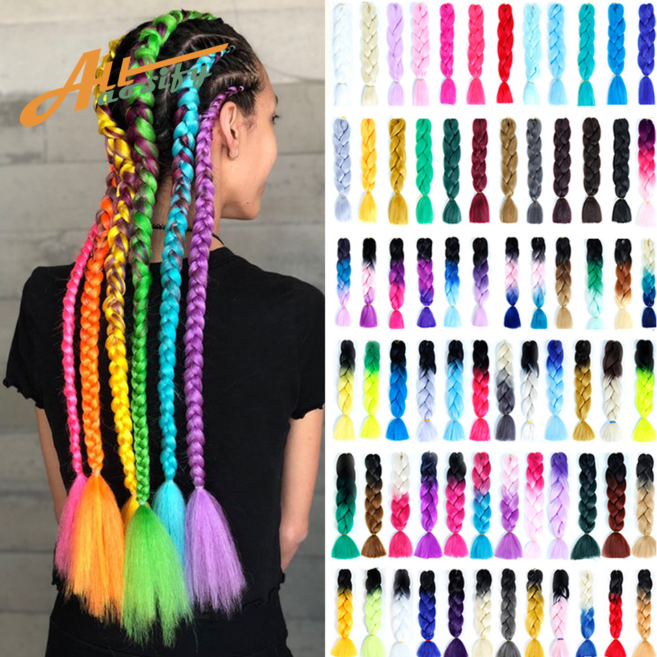 Allaosify HAIR Synthetic Crochet Braids In Jumbo Braiding Hair One Piece 82 Inch 165g/pcs Pure Color In Hair Extensions
