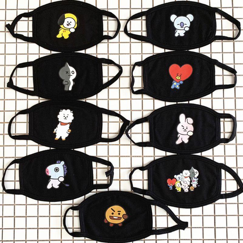 Women Girl Unisex Cotton Half Face Mouth Mask Kpop Blackpink Twice Cute Cartoon Animal Letters Printed Dustproof Muffle Respirat