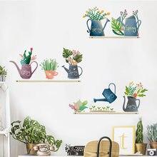 Yaratıcı bitki sulama kabı duvar Sticker ev duvar dekorasyon oturma odası mutfak dekoru kendinden yapışkanlı duvar kağıdı çiçekler çıkartmalar