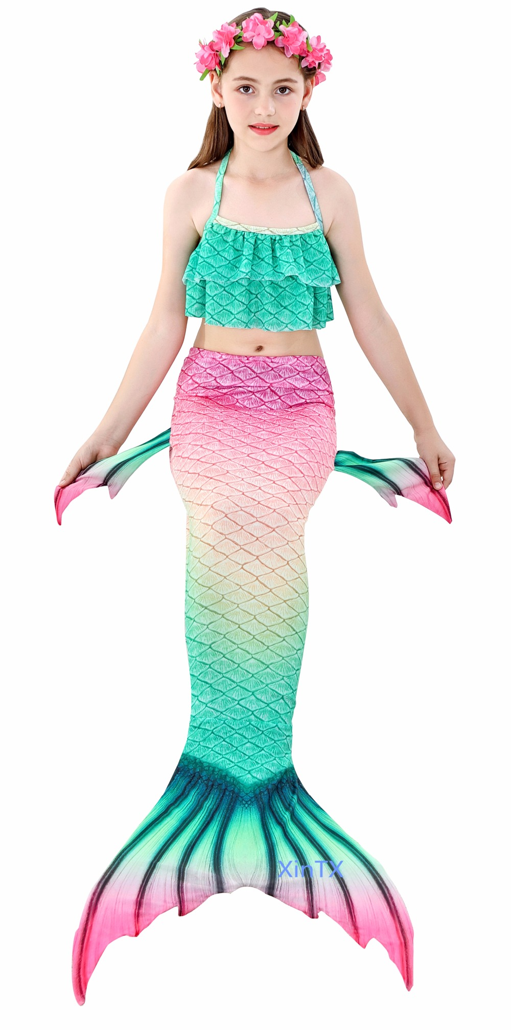 H422dc123521c4fba92857b0d32bbb5d57 - 4PCS/Set HOT Kids Girls Mermaid Tails with Fin Swimsuit Bikini Bathing Suit Dress for Girls With Flipper Monofin For Swim