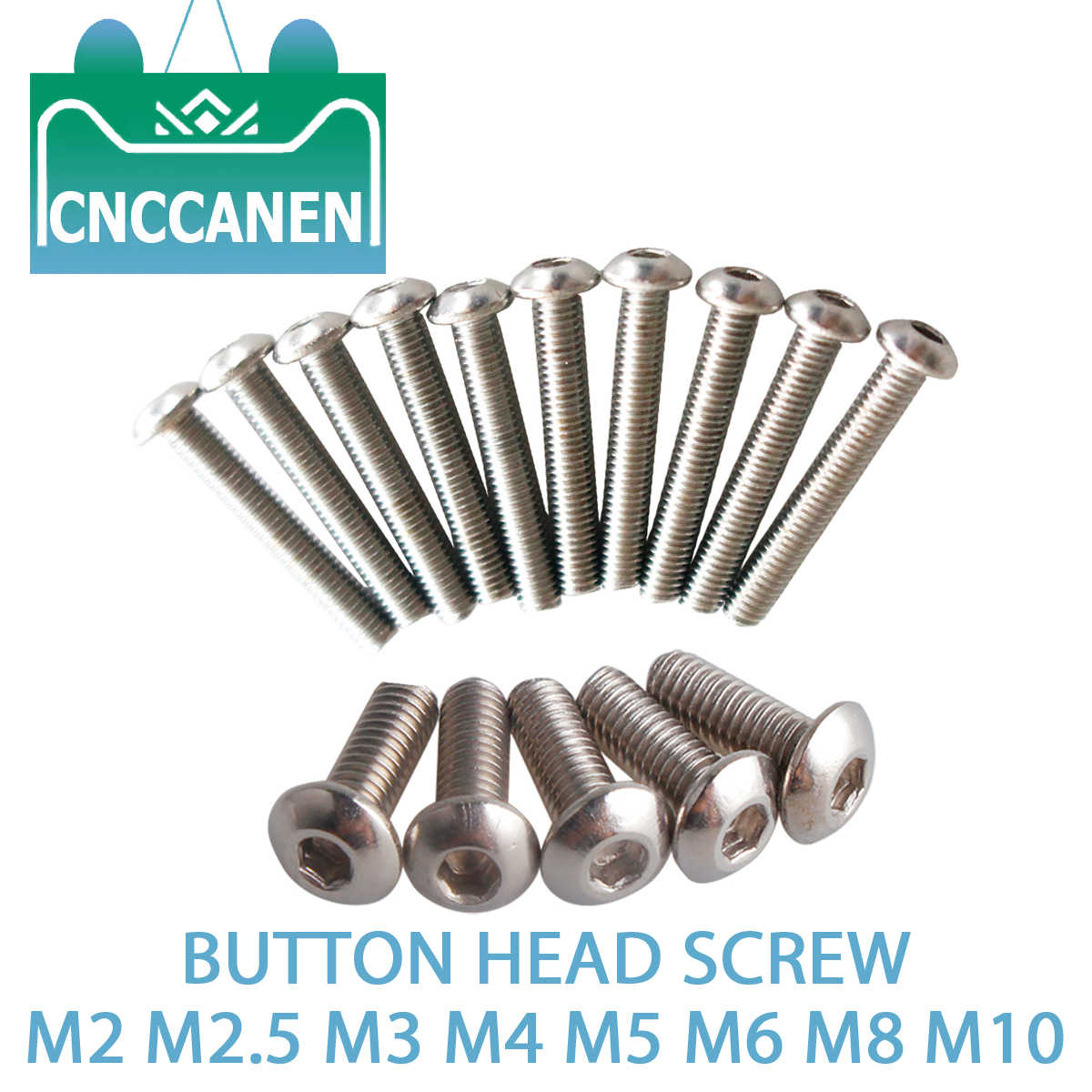 5/10/20/50PCS ISO7380 M2 M2.5 M3 M4 M5 M6 M8 M10 304 A2 Stainless Steel Button Head Screw Hex Socket Round Head Allen Bolt Screw
