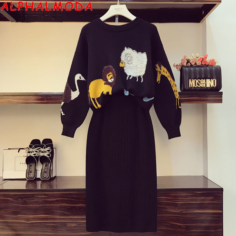 ALPHALMODA Jacquard Loose Knitted Sweater + Knee Length Skirt Women 2pcs Fashion Suit 3D Embroidery Animal Pattern Set