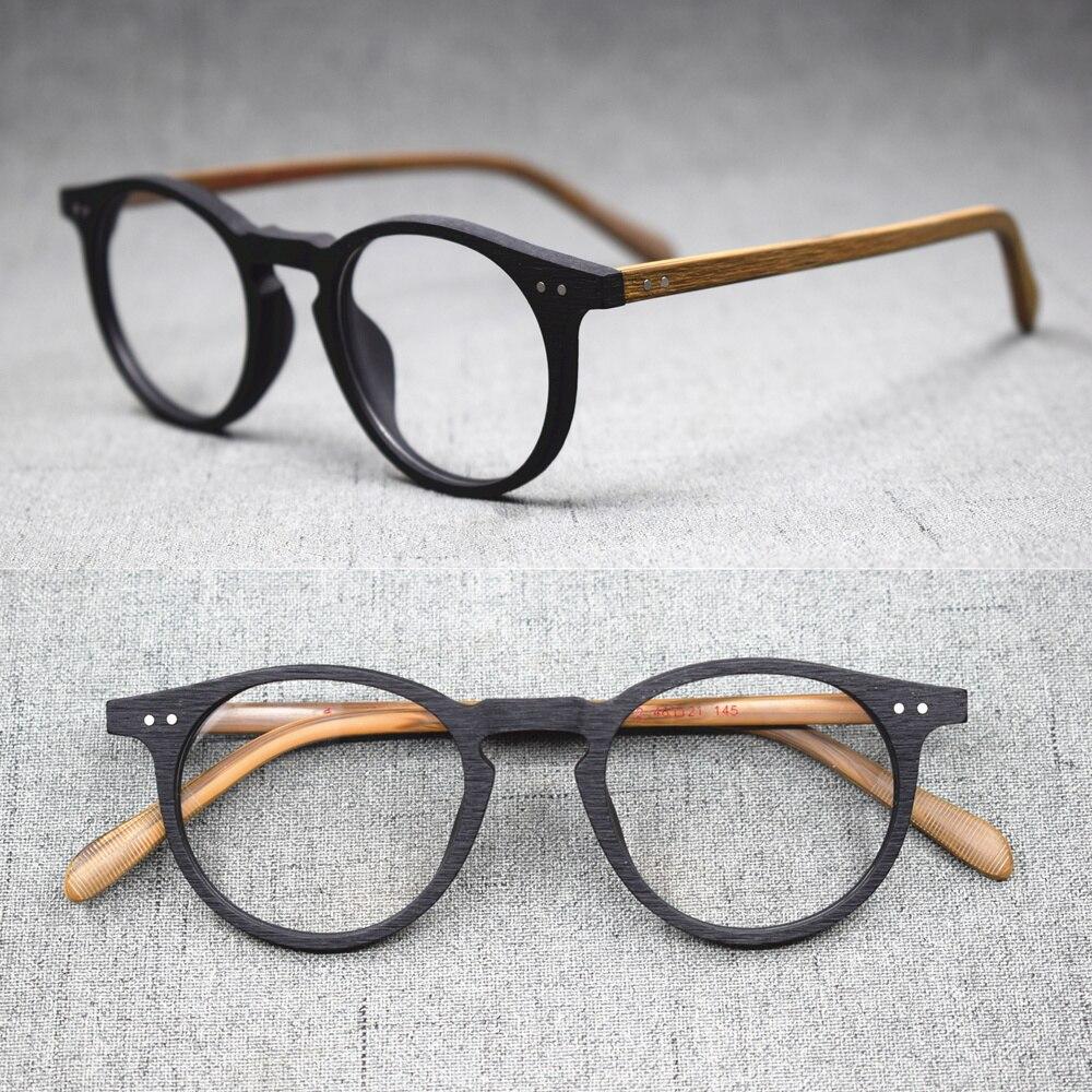 Vinatge Hand Made Oval Full Rim Wood Black Eyeglass Frames Rx Able Myopia Unisex Spectacles Glasses