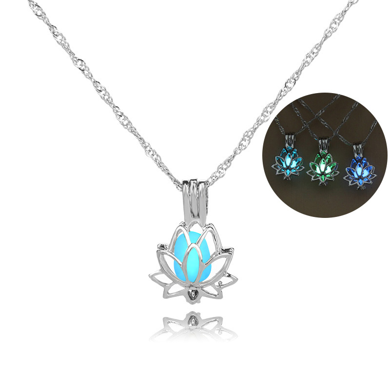 H422dd5ad3eee4af18145a67527e4f9afN - 3 Colors Glowing In The Dark Lotus Flower Shaped Pendant Necklace Charm Chain Delicacy Necklace Luminous Party Jewelry Women