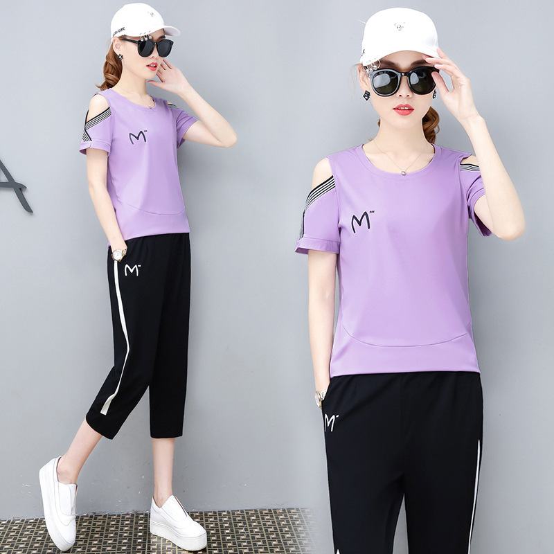 Short Sleeve Sports WOMEN'S Suit Summer 2019 New Style Loose And Plus-sized Fashion Slimming Capri Pants Casual Two-Piece Set Fa