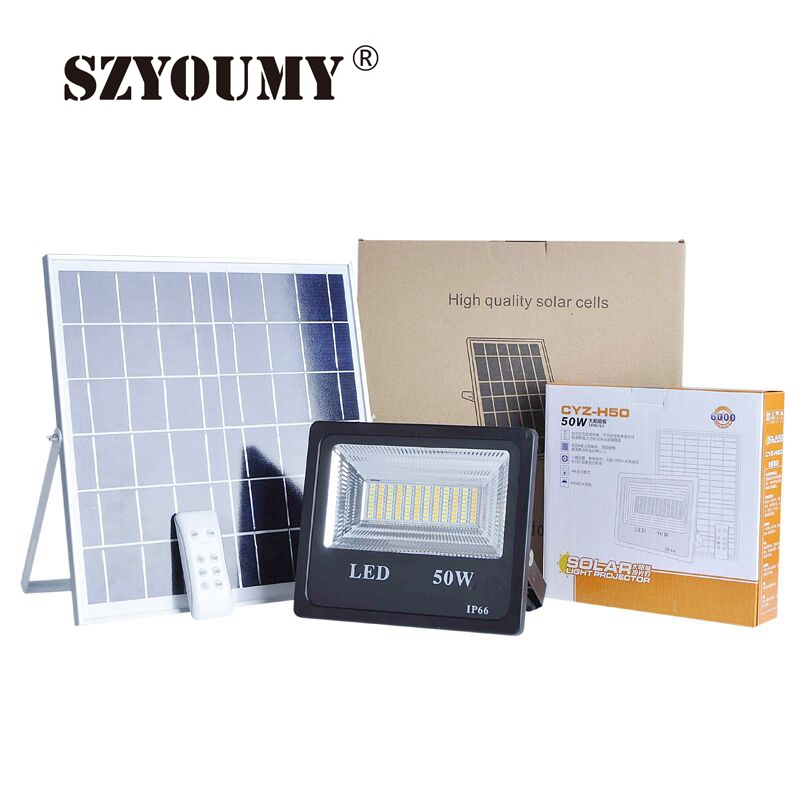 SZYOUMY Solar Power Flood Light 30W Double Color Outdoor Solar FloodLight Super Bright Spotlight With Remote Controller 4 Model Solar Lamps     - title=