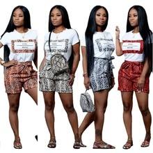 Echoine 2 Piece Set Snake Skin Letter Print Summer Shorts Women Tracksuit Short Sleeve T-shirt and Pocket Casual Suit