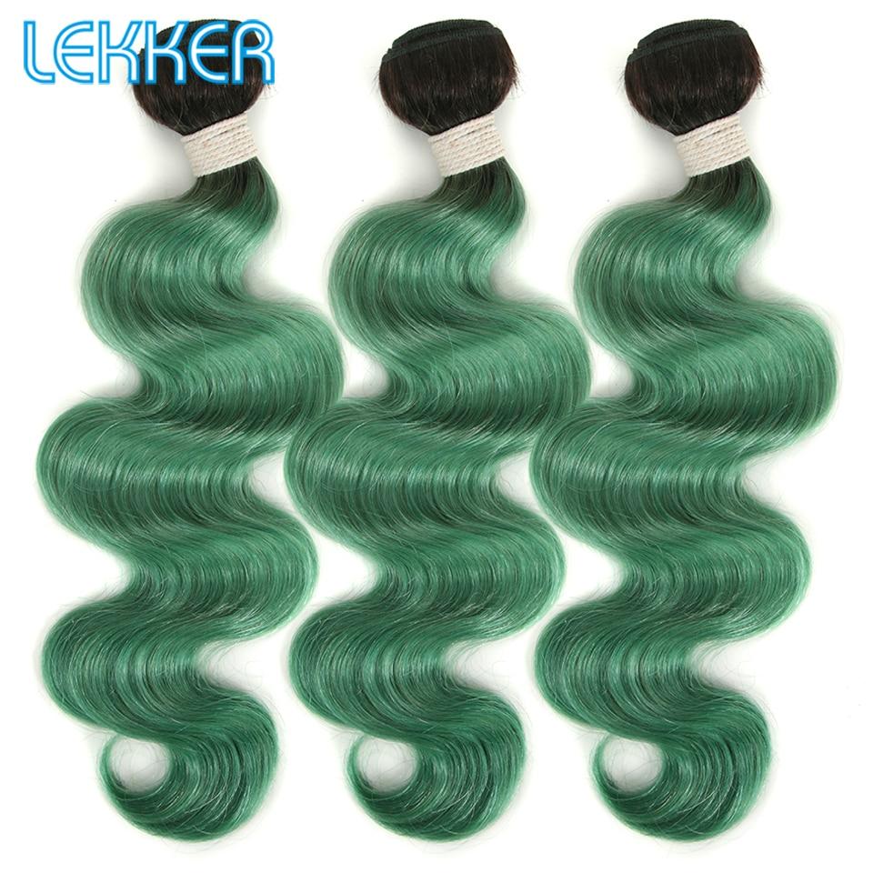 Lekker Body Wave Hair 1B Green Remy Human Hair Bundles Brazilian Hair Extensions