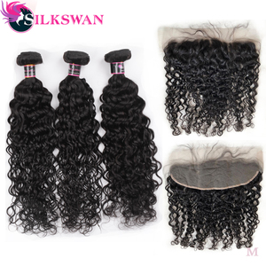 Silkswan Hair Water Wave Bundles with Frontal 22 24 26 28 Inches 13x4 Ear to Ear Swiss Lace Frontal 3Pcs/lot Human Remy Hair