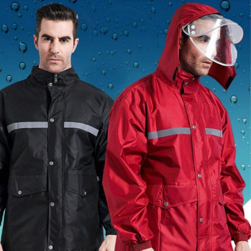 Reflexivo verde preto vermelho M L XL XXL XXXL XXXL capa de chuva Dupla capa de chuva chapéu de pano + calças dos homens das mulheres mulheres homens do revestimento de chuva