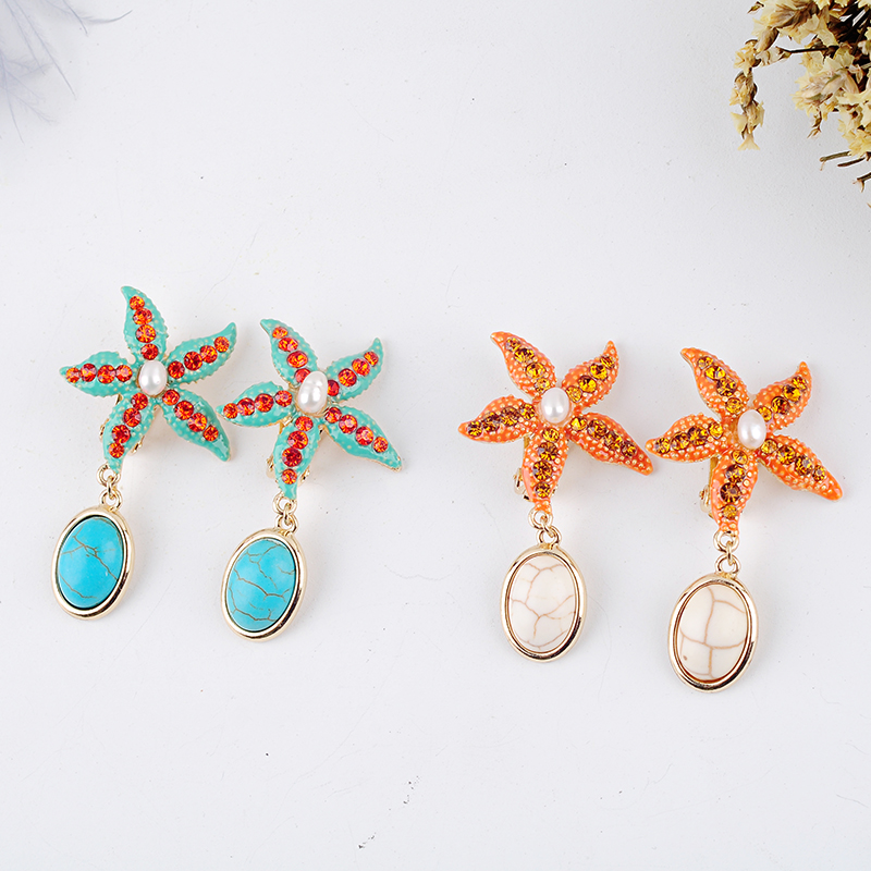 Starfish Clip-Earring Appointment Crystal Women Bohemia Resin For Date Gift White/blue