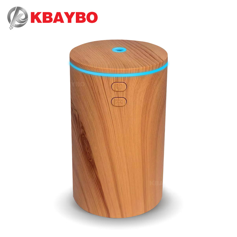 KBAYBO 100ML Car Air Humidifier Electric Ultrasonic USB Purifier Wood Grain Aromatherapy Essential Oil Diffuser Home Office