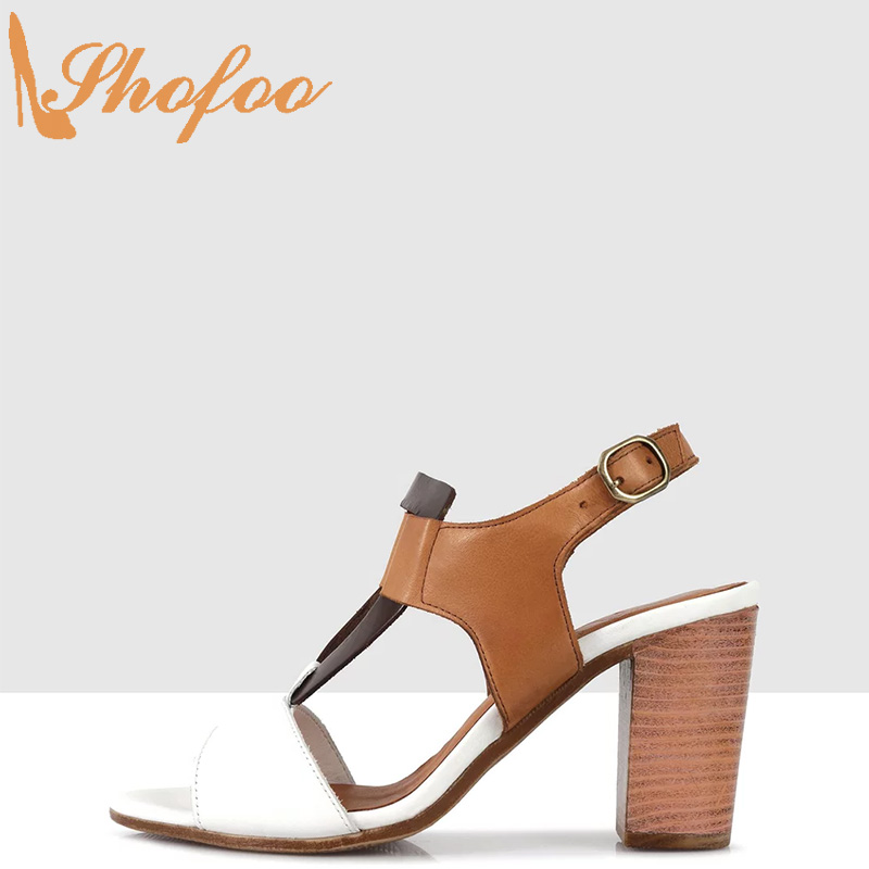 White Brown Patchwork High Chunky Heels Women Sandals Open Toe Buckle Strap Large Size 12 15 Ladies Summer Fashion Shoes Shofoo