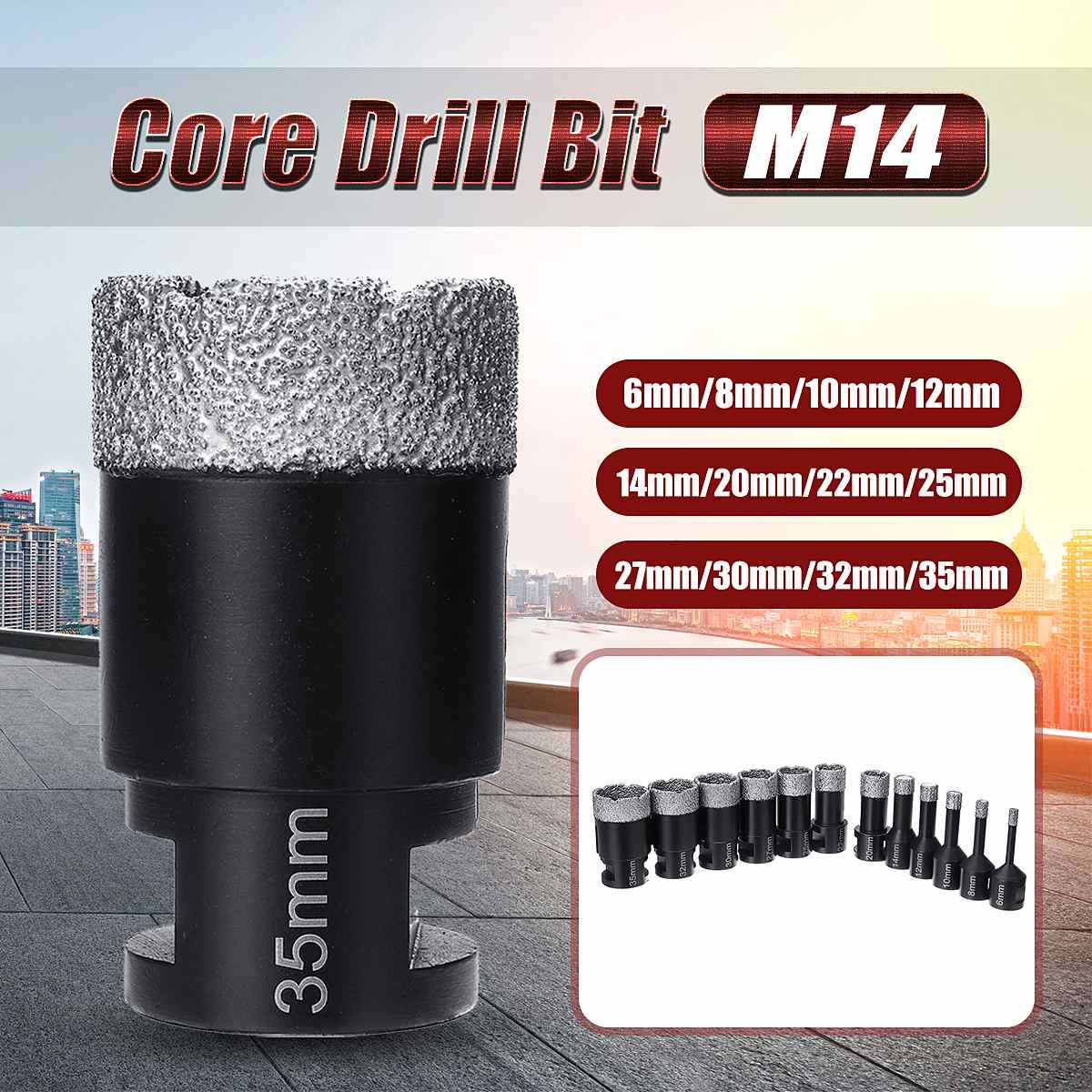 6-35mm Professional Diamond Drilling Bits Hole Saw Tile Drill Core Bits Porcelain Marble M14 Thread Dia For Angle Grinder