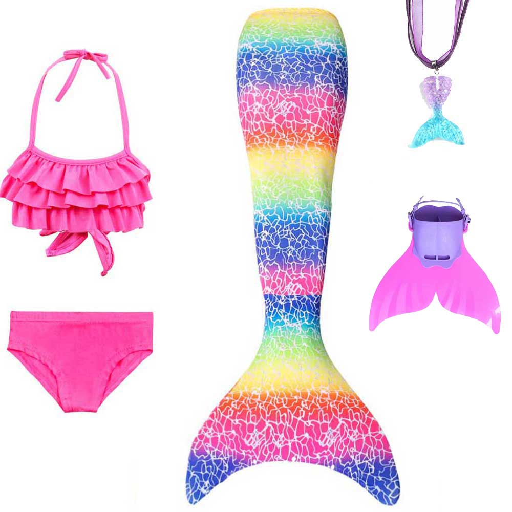 Girls Swimming Costume Bikini Bathing Suit And Mermaid Tails Fancy Dress Kids Tales Of Mermaid Holiday Clothes Crown Cosplay