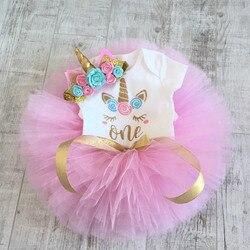 Unicórnio vestido de festa bordado vestido de 1 ano menina do bebê vestido de aniversário vestido de batismo da criança roupas de bebê rosa