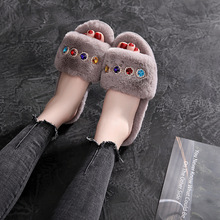 suihyung women indoor shoes winter warm flock home slippers ladies bedroom slip on casual shoes flats faux fur house floor shoes New Women Home 4-color Crystal Slippers Winter Warm Shoes Woman Slip On Flats Slides Female Faux Fur Slippers House Shoes