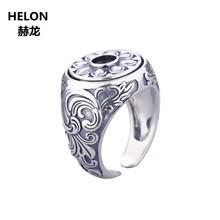 Art Deco 925 Sterling Silver Men Engagement Wedding Ring Vintage 5x5mm Round Cabochon Semi Mount Ring Setting Wholesale(China)