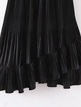 Chic Women Pleated Skirt Spring 2020 New Fashion Cascading Ruffles Black Bottom Modern Lady Mid-Calf Skirts 6