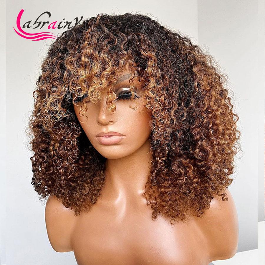 Perruque Bob brésilienne Remy sans colle, cheveux naturels, ombré gingembre, blond miel, reflets, Yaki, avec cheveux de bébé, faite à la Machine