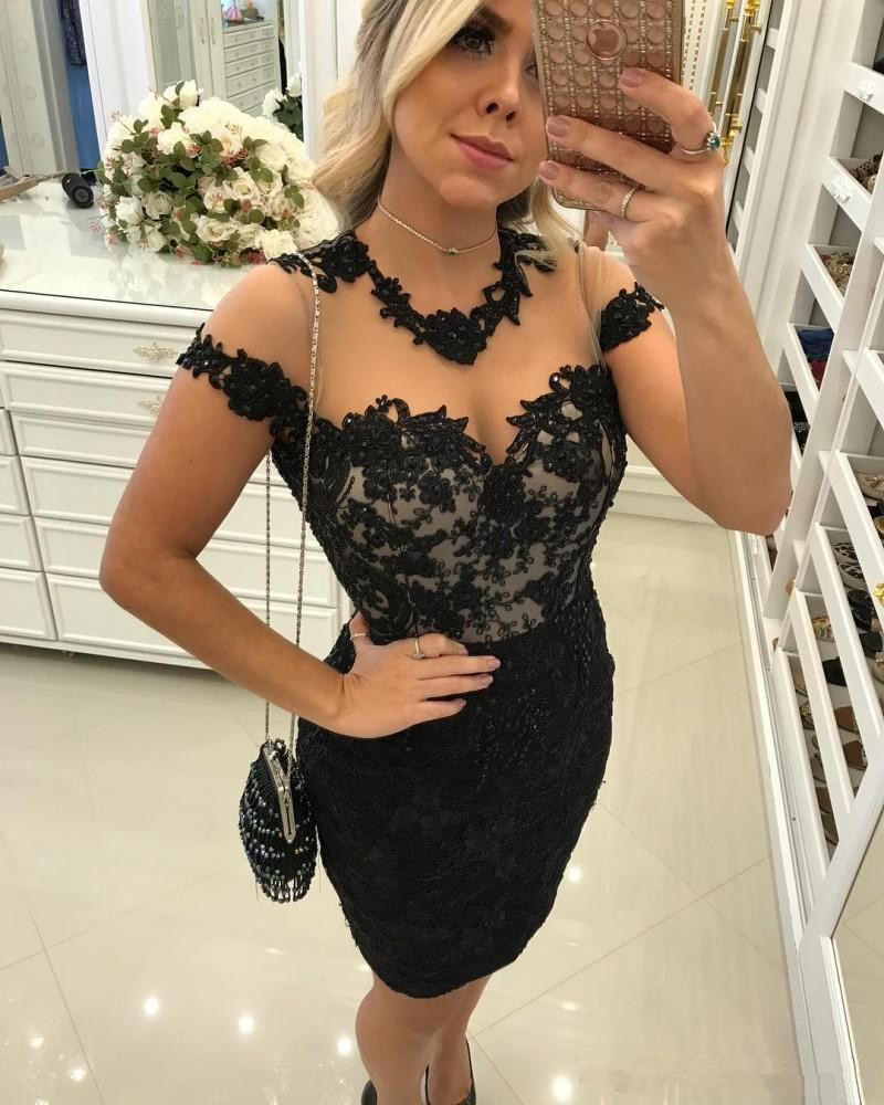 Black Cocktail Dresses Sheath Cap Sleeves Appliques Lace Beaded Knee Length See Through Homecoming Dresses