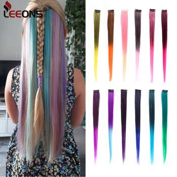 Leeons kolorowe wyróżnienie syntetyczne doczepy do włosów klip w jednym kawałku kolorowe paski 20 #8222 długie proste włosy dla fanów sportu tanie i dobre opinie Wysokiej Temperatury Włókna 2 cali z 1 klipsami hair extensions color Ombre