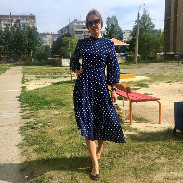 2019 الخريف اللباس VONDA نقطة المطبوعة خمر وزرة فستان صيفي الشاطئ Vestidos إمرأة مساء حزب رداء فام مثير فستان الشمس 1