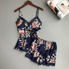 Sexy Lingerie Satin Silk Pyjamas Women Sleepwear Summer Pijamas Women Pyjama Femme Flower P