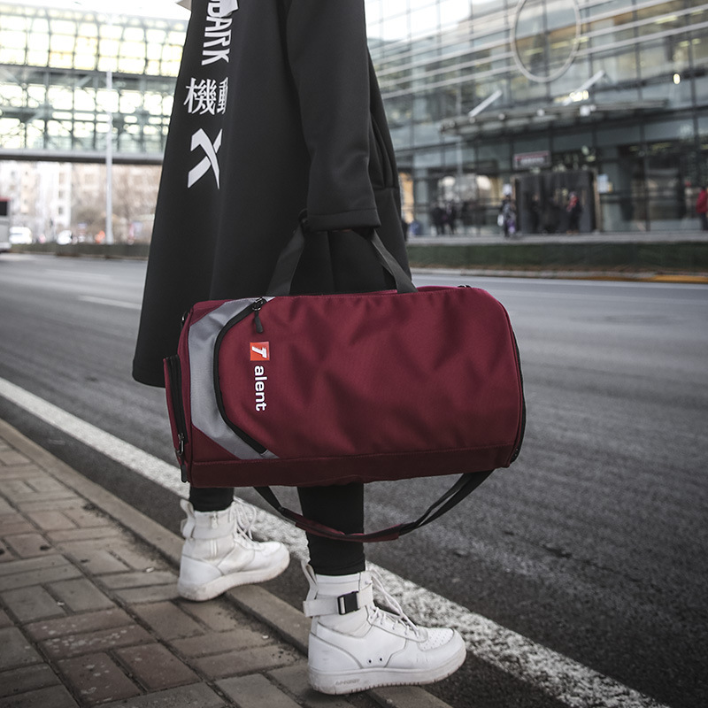 New Fashion Letter Collision Color For Men And Women's Universal Yoga Swimming Fitness Bag Short Trip Cylinder Bag