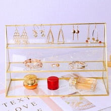 3 Tier Glass Jewelry Display Showcase with Gold Tone Metal Frame