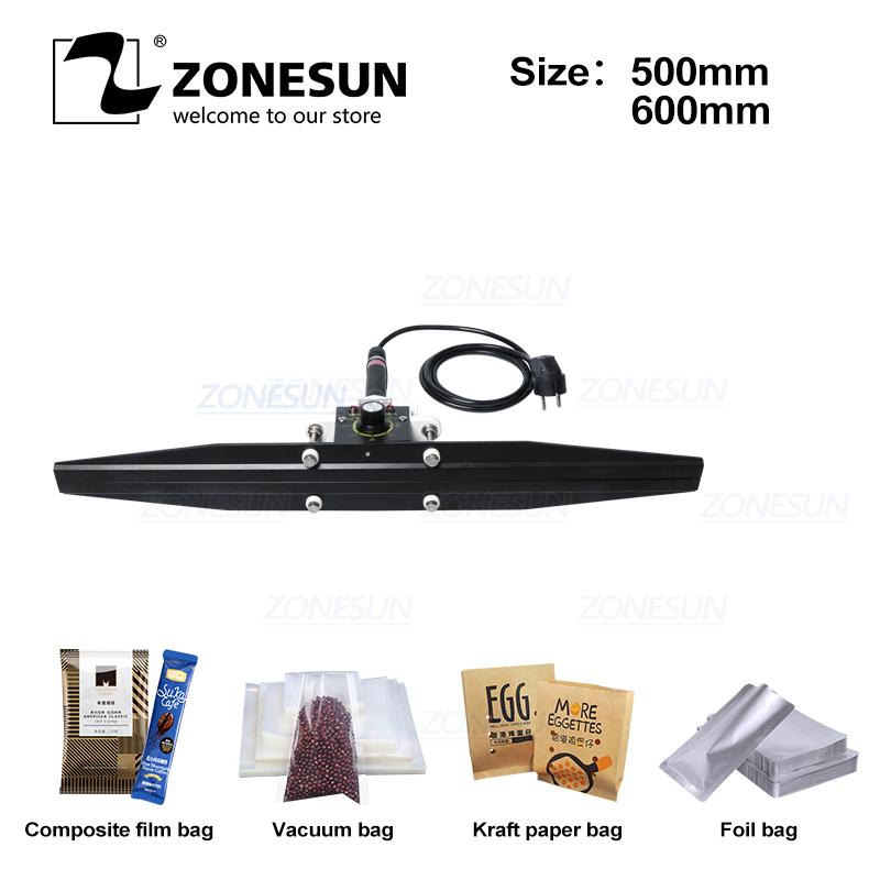 ZONESUN Direct-heat Pliers Impulse Sealing Machine Handheld Electric Composite Aluminum Foil Kraft Paper Packing Sealer Packer