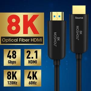Image 2 - MOSHOU Cable de HDMI 2,1 de fibra óptica, Ultra HD (UHD), 8K, 120GHz, 48Gbs, con Audio y Ethernet, HDMI, HDR 4:4:4, sin pérdidas