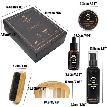 5Pcs/set Men Beard Growth Kit Hair Growth Enhancer Thicker Oil Nourishing Leave-in Conditioner Beard Grow Set with Comb 2