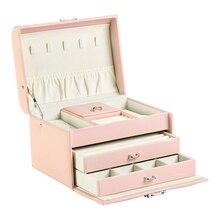 Joyero de cuero de alta calidad con 3 capas, caja de almacenamiento de joyería con cierre de tuerca, regalo para mujer, 2020
