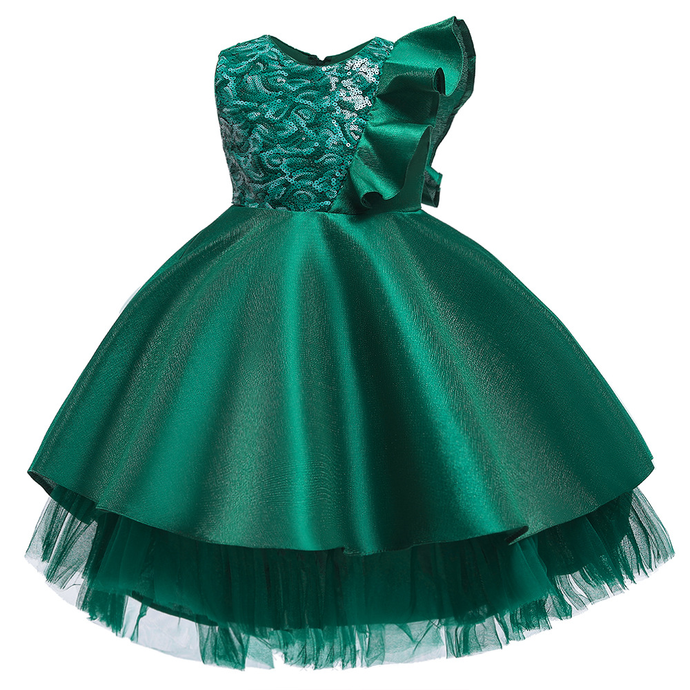 Sequin Satin Girls dress Flare Sleeve Christmas Dress for girls Pageant Tulle kids dresses for girls princess dress party dress 5