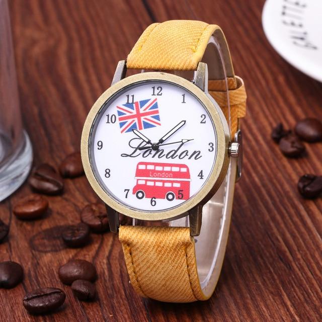 Reloj hombre venda quente denim retro carro bandeira britânica relógio casual relógio unisex relógio de presente de aniversário para mulher 3