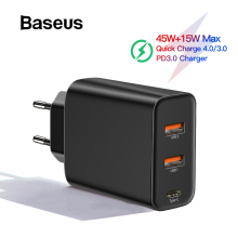 Baseus 3 порта USB PD зарядное устройство 60 Вт для iPhone 11 Pro Xs Max XR быстрое зарядное устройство для телефона Quick Charge 4,0 3,0 FCP SCP для Xiaomi huawei