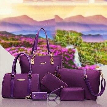 6 Pcs / Set Fashion Women Composite Bags PU Leather Diamond Lattice Print Handbag Shoulder Bag Wallets Purse Key