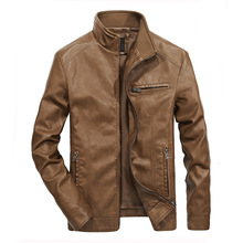 Spring Autumn Leisur Stand Collar Pure Color Skinny Leather Jacket for Men
