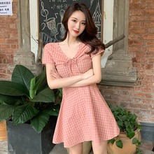 Fashion Female Print Dress Women Lace Up Slim Short Sleeve V Neck Summer