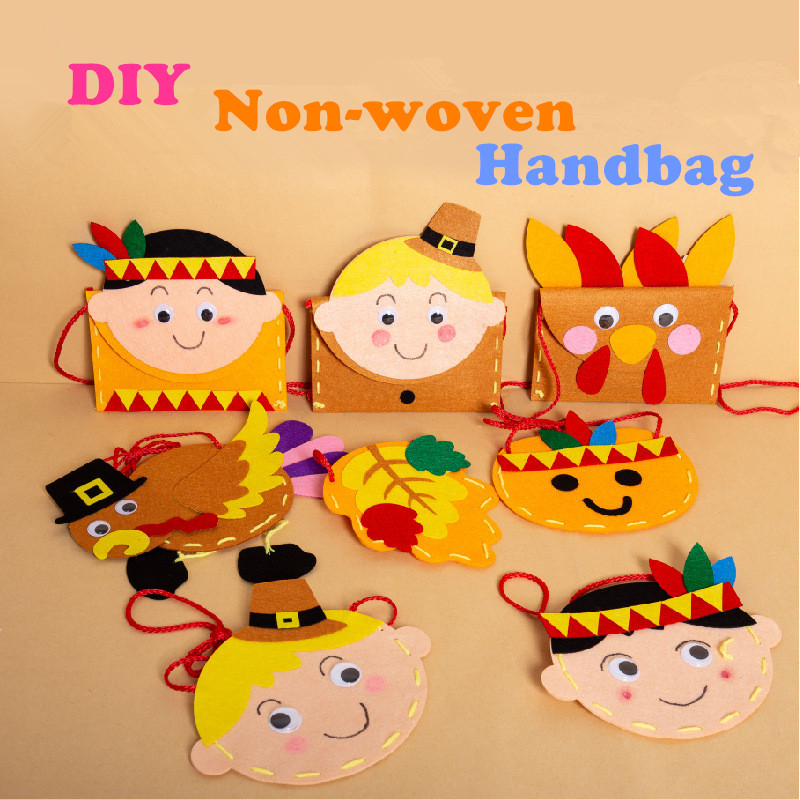 Kids DIY Handmade Non-woven Handbag Craft Toys Children Early Educational Toys Thanksgiving Day Gifts Handmade Materials Package