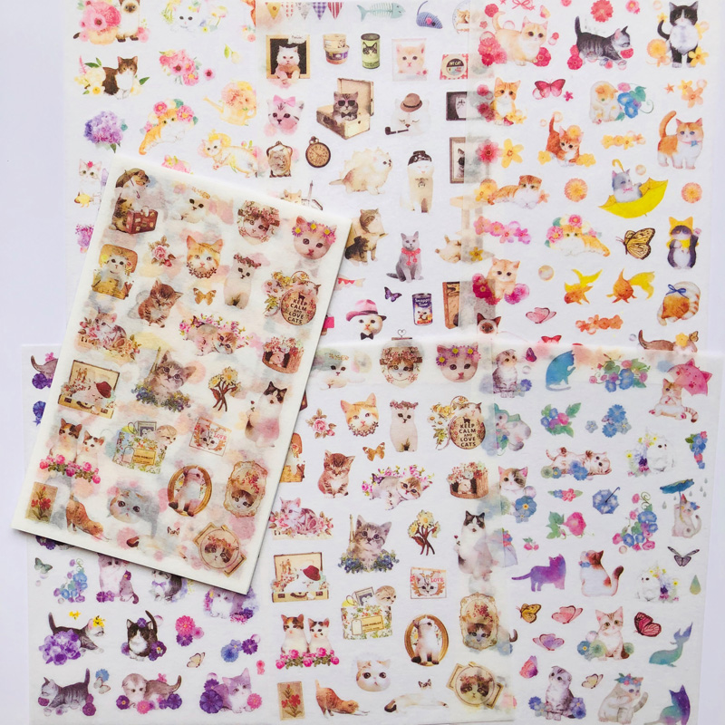 6 Sheets Lovely Meow Cat Kitten World Decorative Stickers DIY Craft Scrapbooking Sticker
