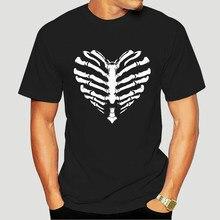 Herren T Shirt 16259 Skelett Schädel Halloween Gothic Liebe Herz Herz Rippen Rippen Baumwolle Shirts Günstige Großhandel 0080E