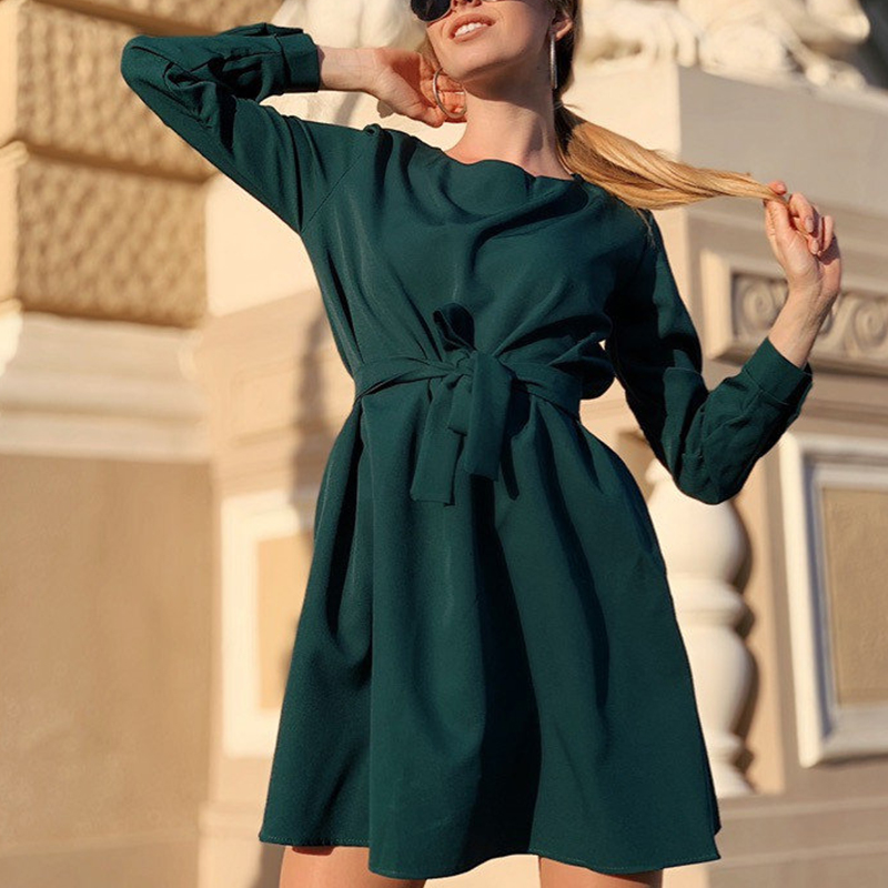 2019 Autumn Women Sashes Mini A Line Dress Office Ladies O Neck Long Sleeve Party Dress New Fashion Casual Solid Women Dresses