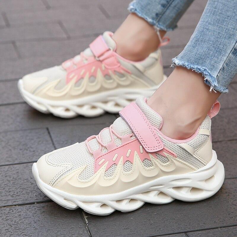 HOBIBEAR Unisex Sport Shoes For Children Breathable Kid Girls Running Shoes Non-Slip Boys Kids Sneakers Teenage School Flat Shoe