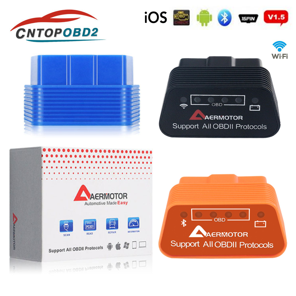 OBD Scanner  ELM327 OBD2 Elm 327 WiFi V1.5 Bluetooth 4.0 Car Diagnostic Tool Support All OBDII Protocols For Android IOS