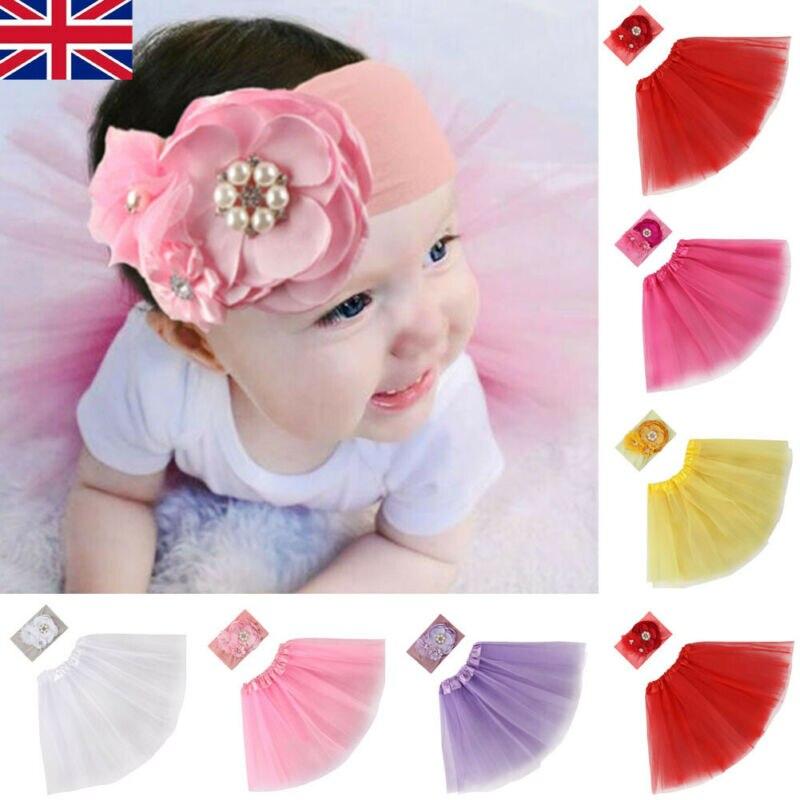Cute Newborn Baby Princess Tulle  Tutu Clothe Skirt Girl Floral Headdress Photo Prop Outfits Set