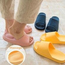 Летние массажные домашние тапочки; женская нескользящая обувь для ванной; эва; светильник; удобные домашние тапочки; яркие цвета; обувь для пар; Размеры 35-43